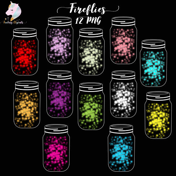 Glowing Fireflies in Mason Jars Clipart example image 1