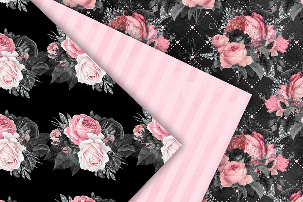 Pink and Black Floral Digital Paper example image 3