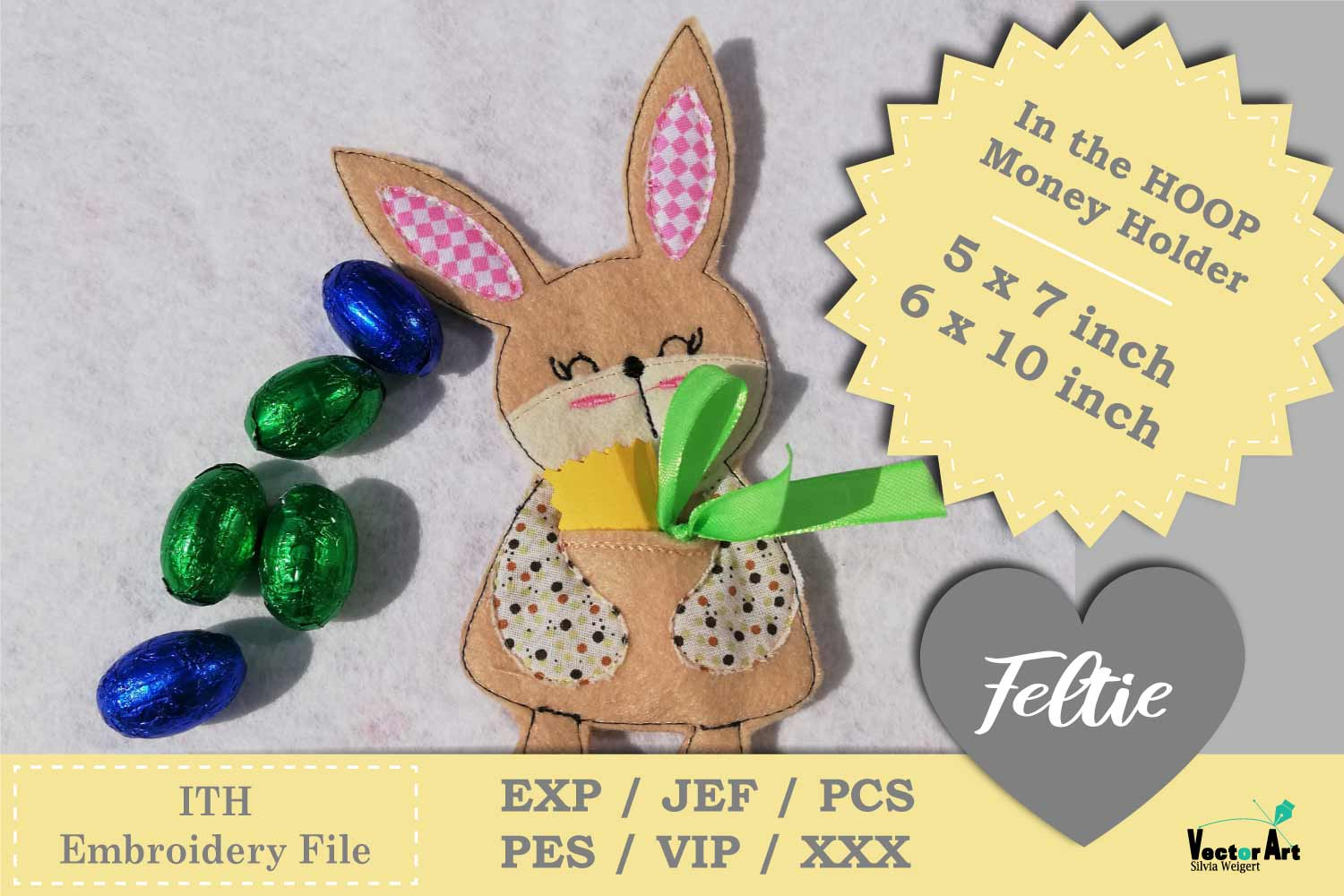 ITH - Money Bunny Gift holder - Embroidery File example image 2