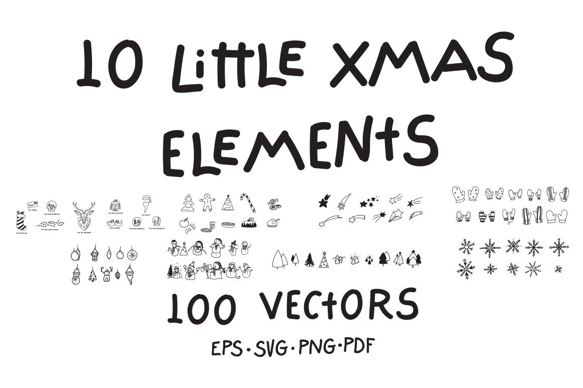 10 Little Xmas Elements|100 Vectors example image 1
