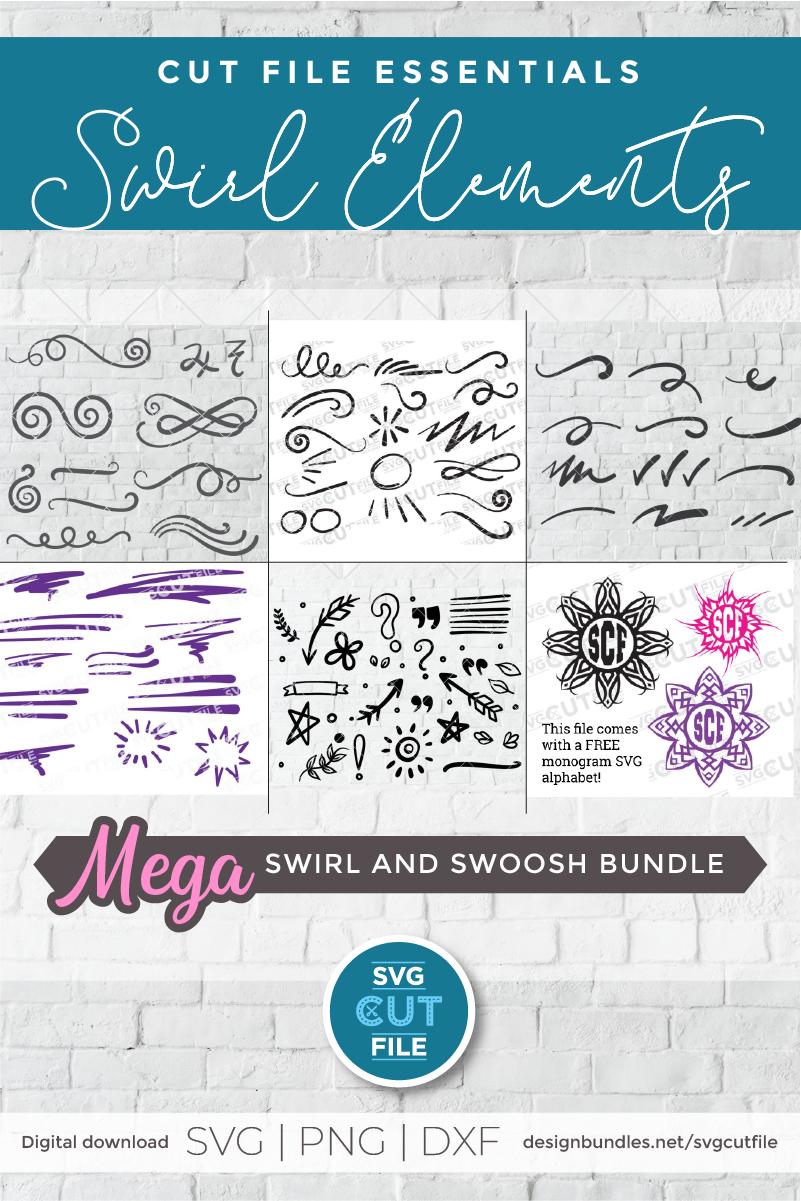 Swirl and swoosh svg bundle, flourish svg, swirls & swooshes example image 2