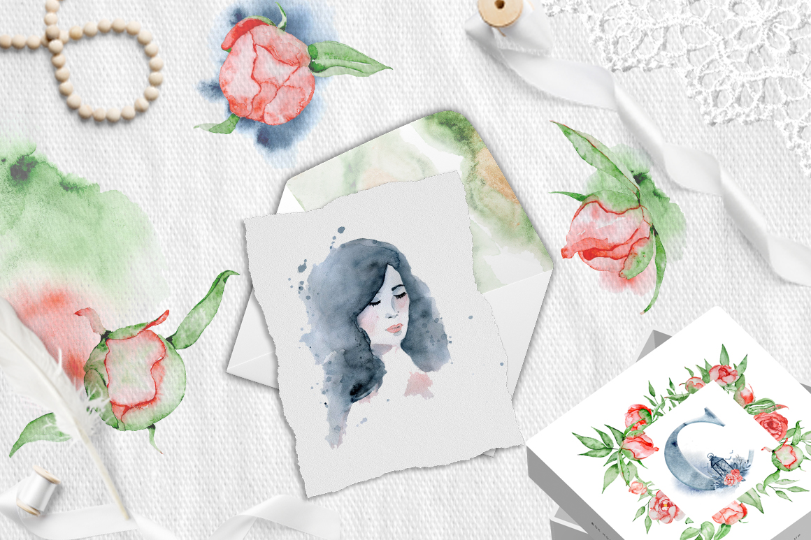 Watercolor peonies romantic floral clipart example image 16
