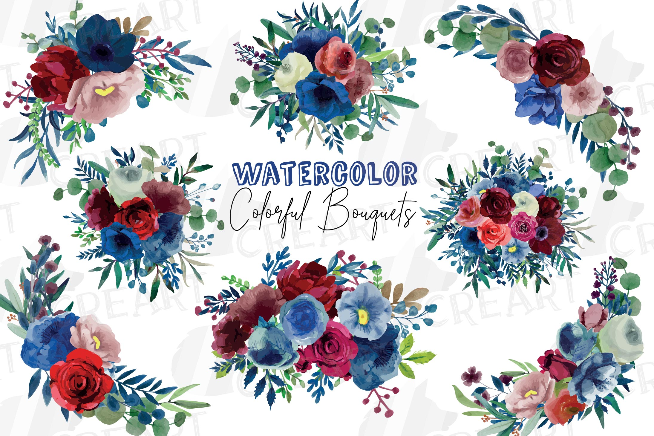 Colorful navy and burgundy floral watercolor wedding bouquet example image 1