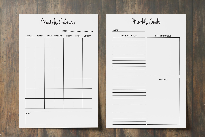 Goal Planner Printable 2019, Goal Worksheet, Planner Insert example image 4