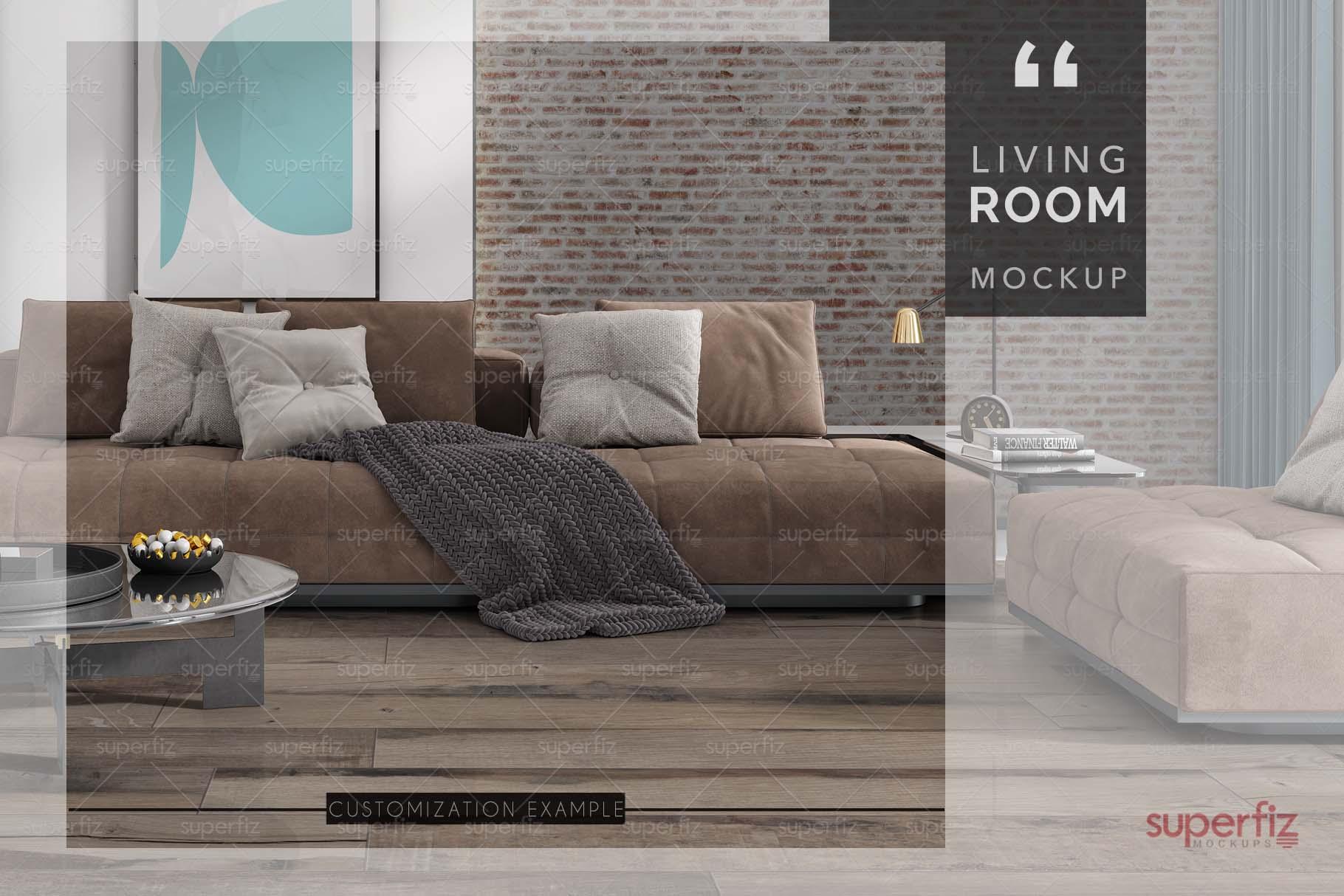 Blank Floor and Wall PSD Mockup Livingroom SM75 example image 7