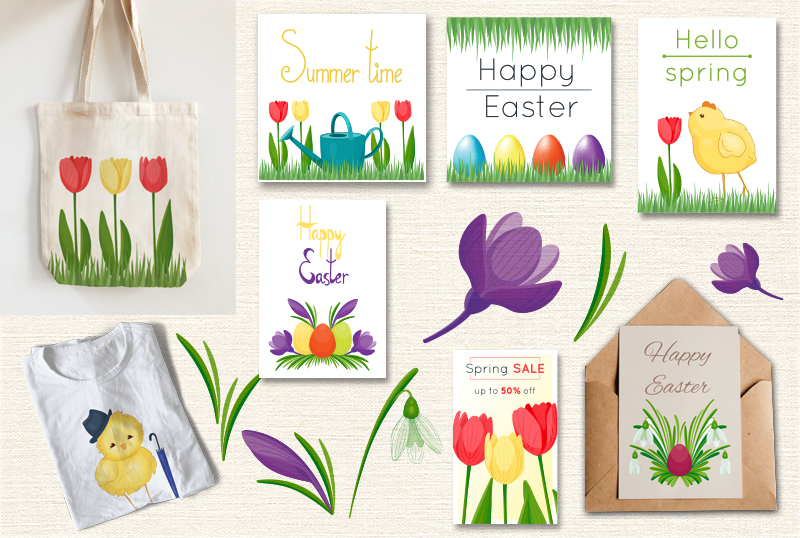 Spring vector set example image 2
