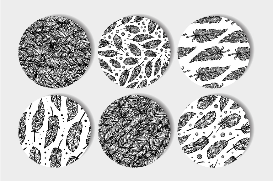 Black and white seamless patterns set example image 2