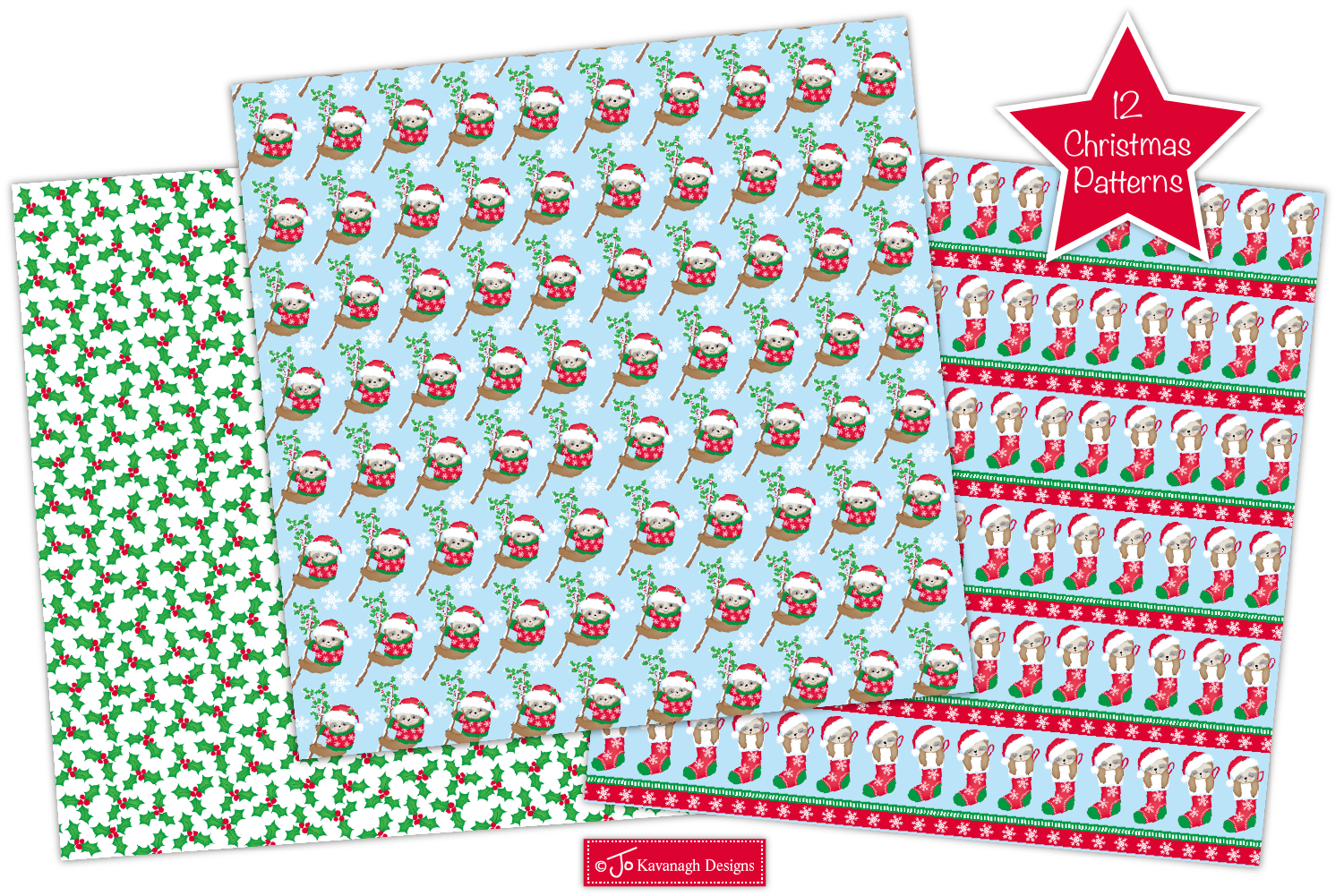 Christmas Sloth Digital Papers, Christmas Patterns -P43 example image 2