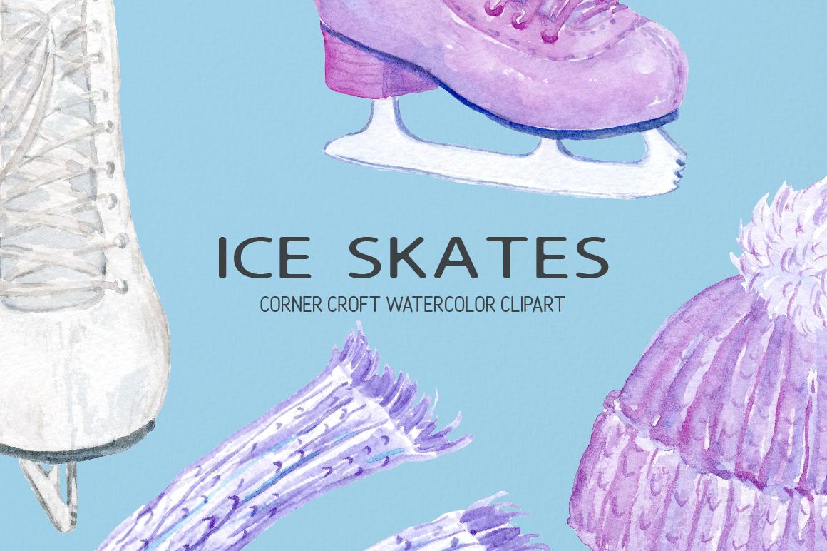 Watercolour Ice Skates Illustration example image 3