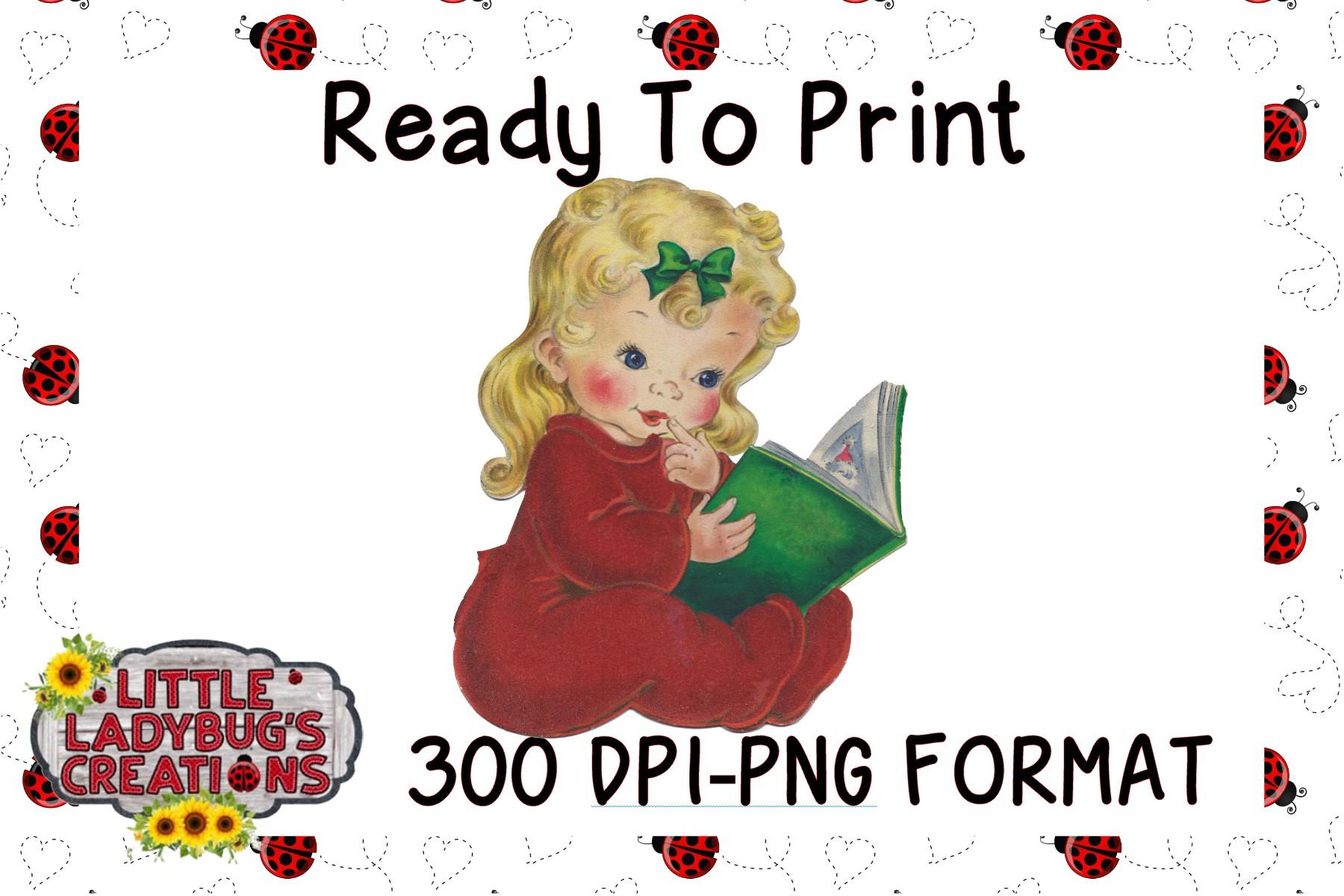 Vintage Pajama Girl 300DPI PNG Printable Digital Design example image 1