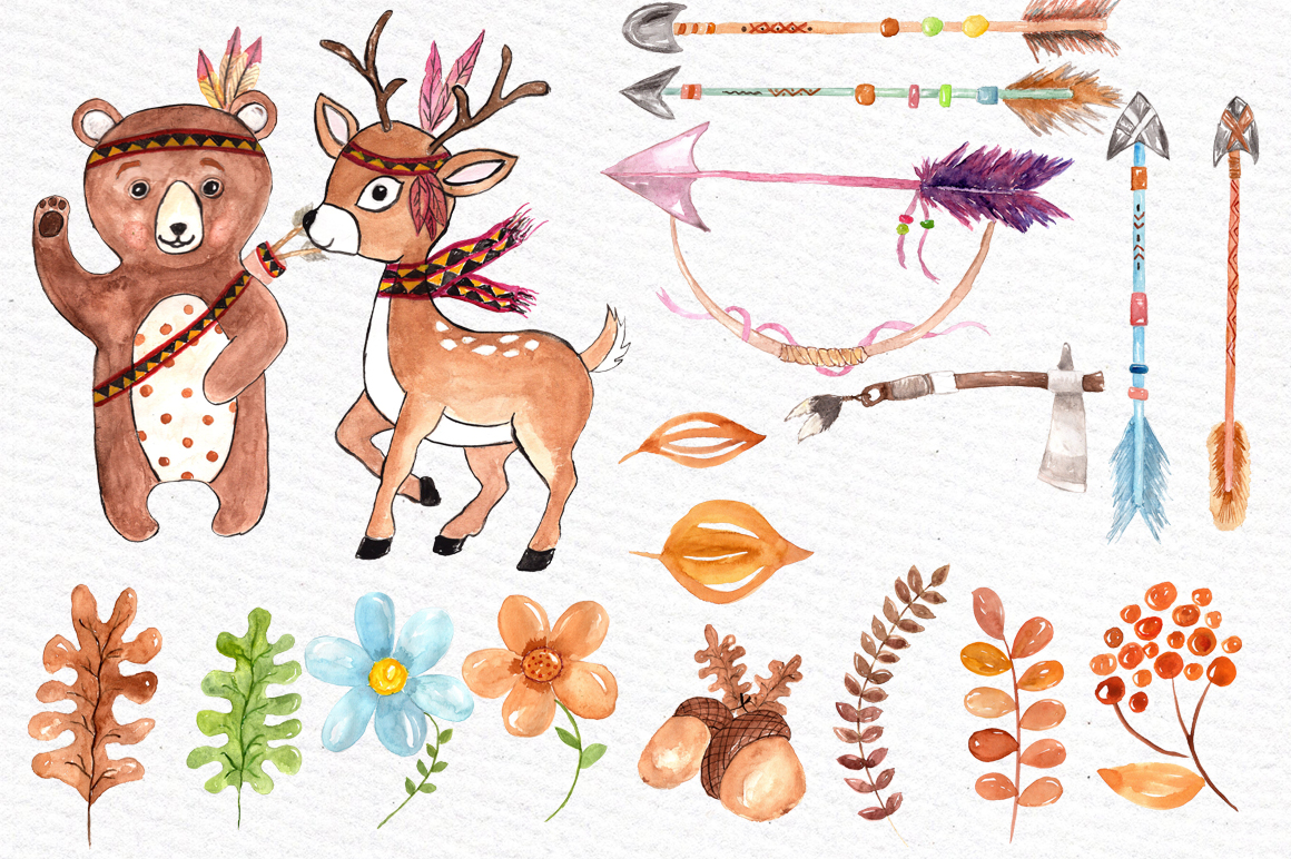 Watercolor kids tribal clipart example image 3