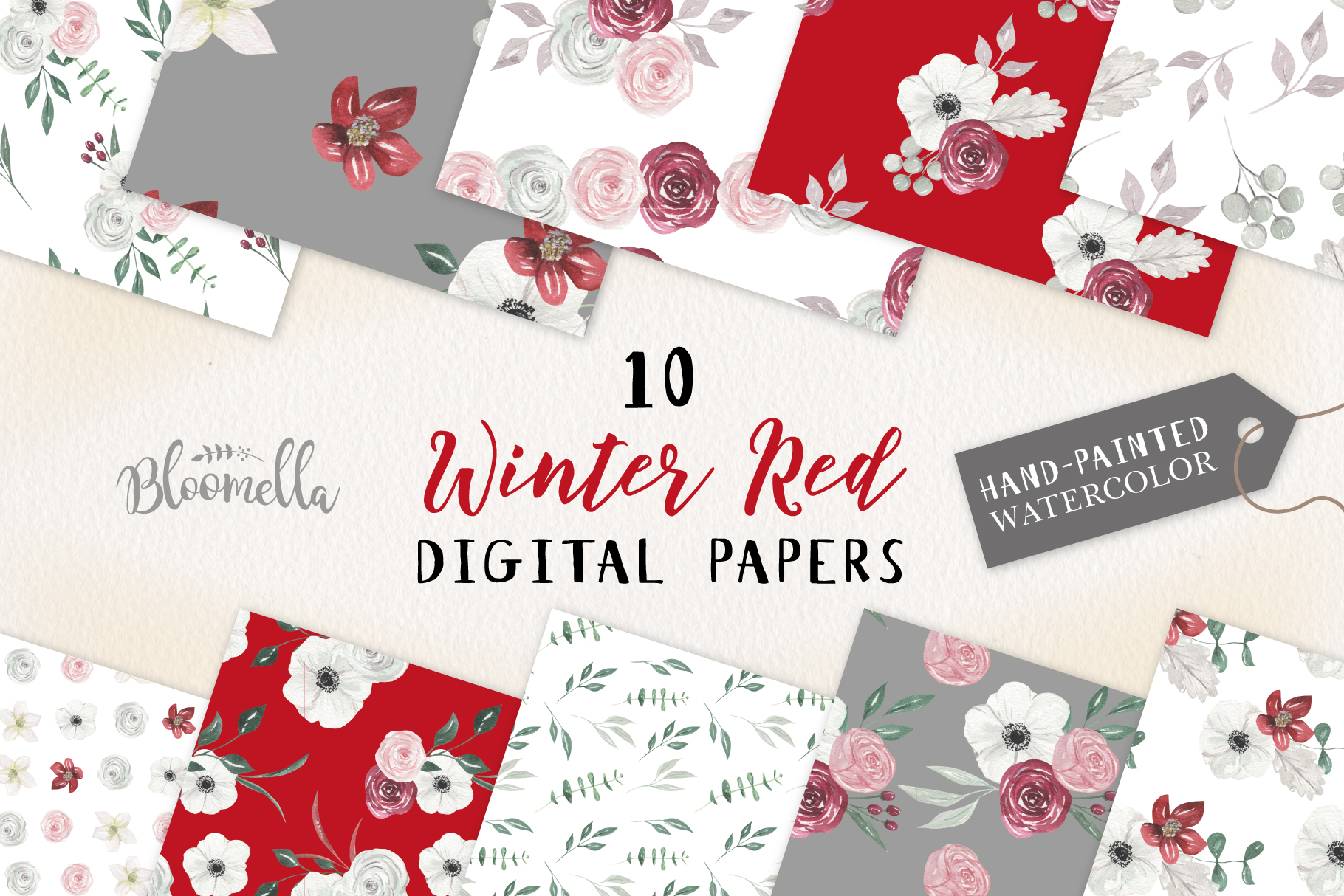 Winter Red Seamless Patterns Digital Papers Festive Holiday example image 1