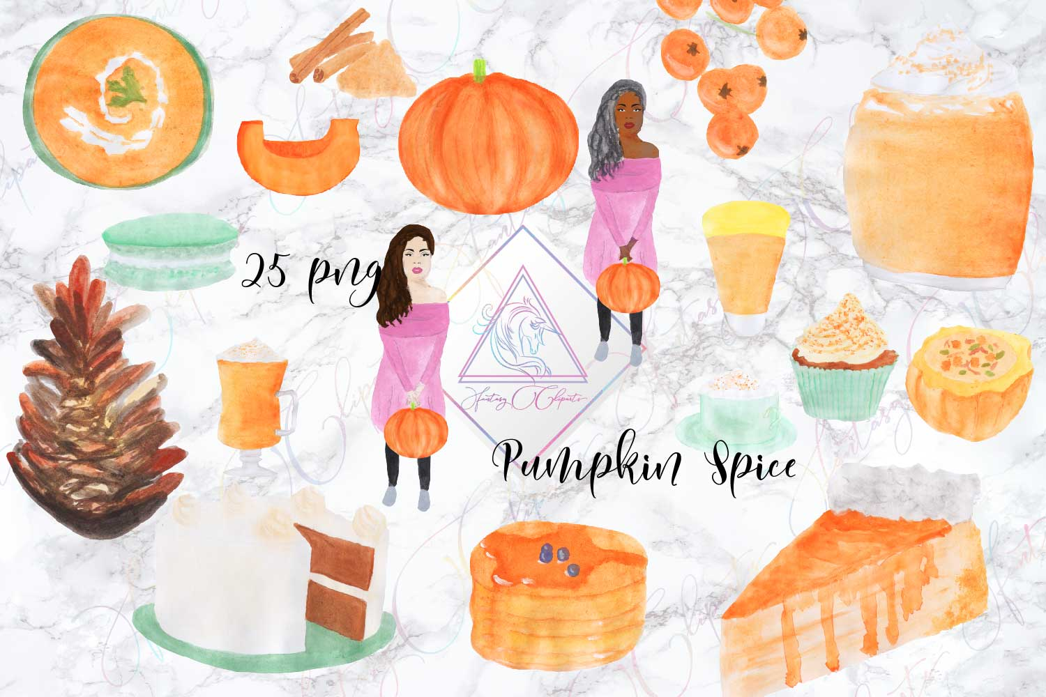 Watercolor Hand Drawn Pumpkin Spice Clipart example image 1