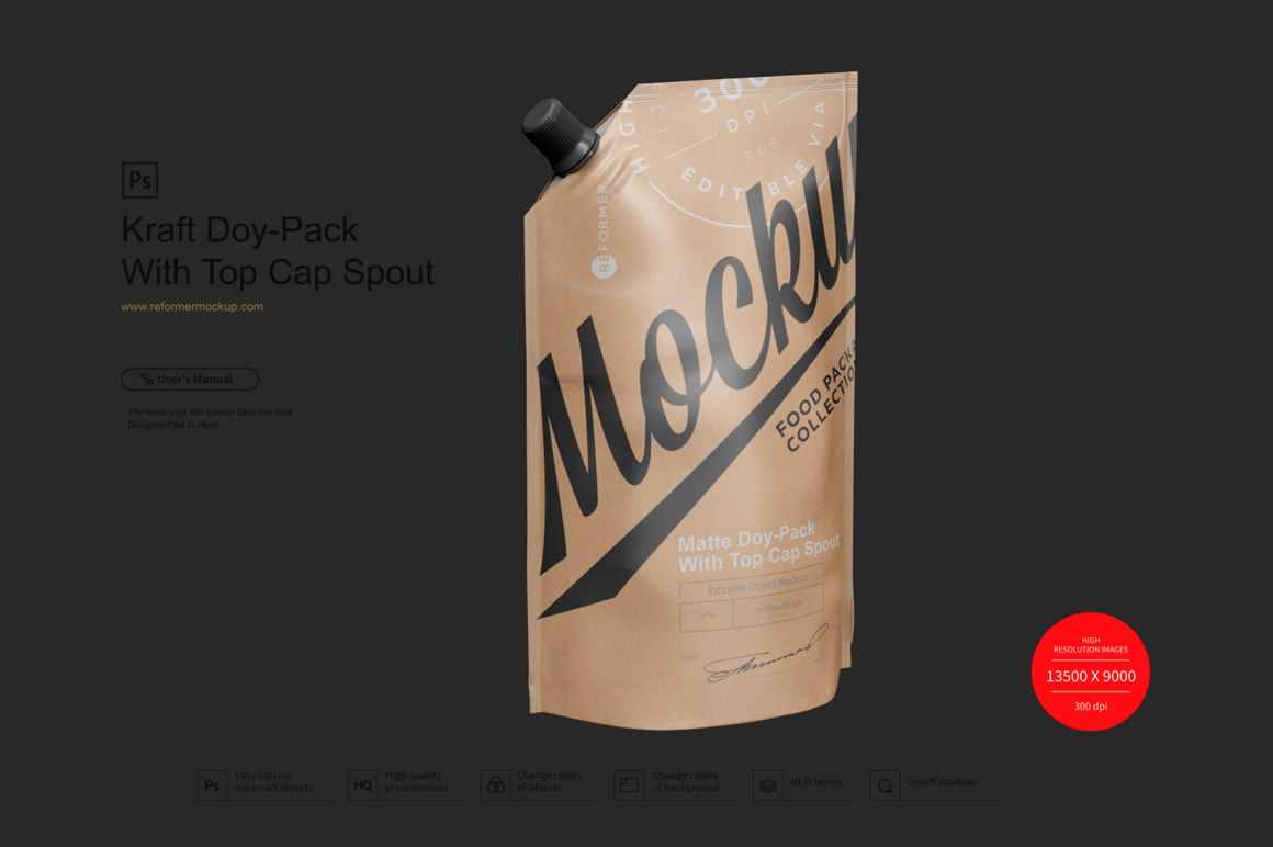 Kraft Doy-Pack With Top Cap Spout example image 2
