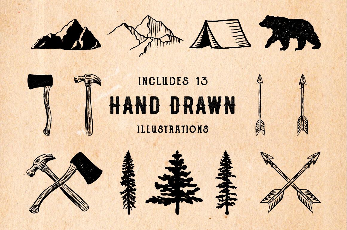 Rustic Logos & Illustrations vol. 1 AI PNG example image 2