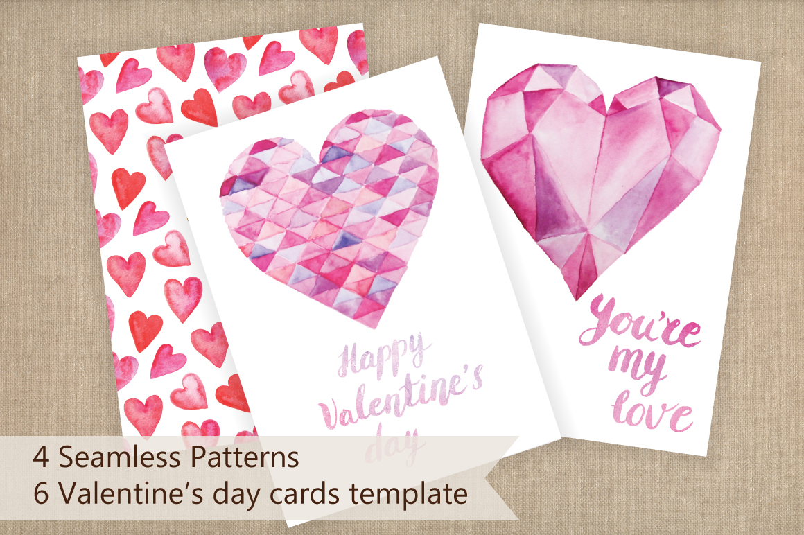 Watercolor Valentine's Day BUNDLE example image 14