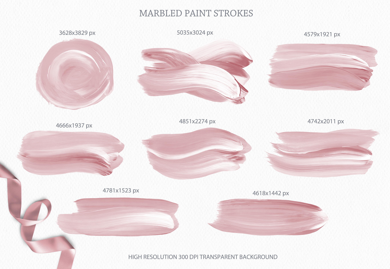 Blush Pink Paint Brush Strokes example image 3