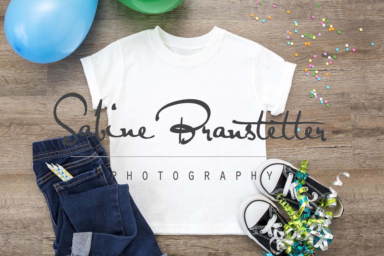 Styled Stock Photography Boy's White Birthday Shirt Mockup example image 1