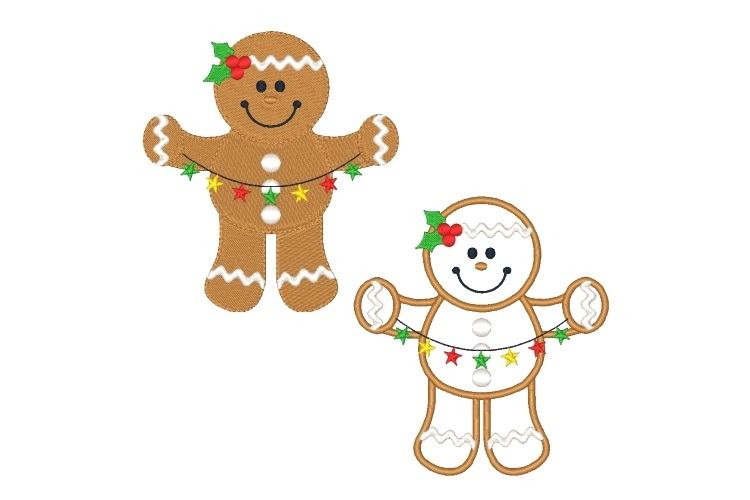 Ginger Boy Embroidery Design Set of 2 Christmas Designs example image 1