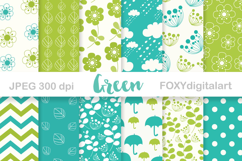 Digital paper floral spring green umbrella retro wedding example image 1