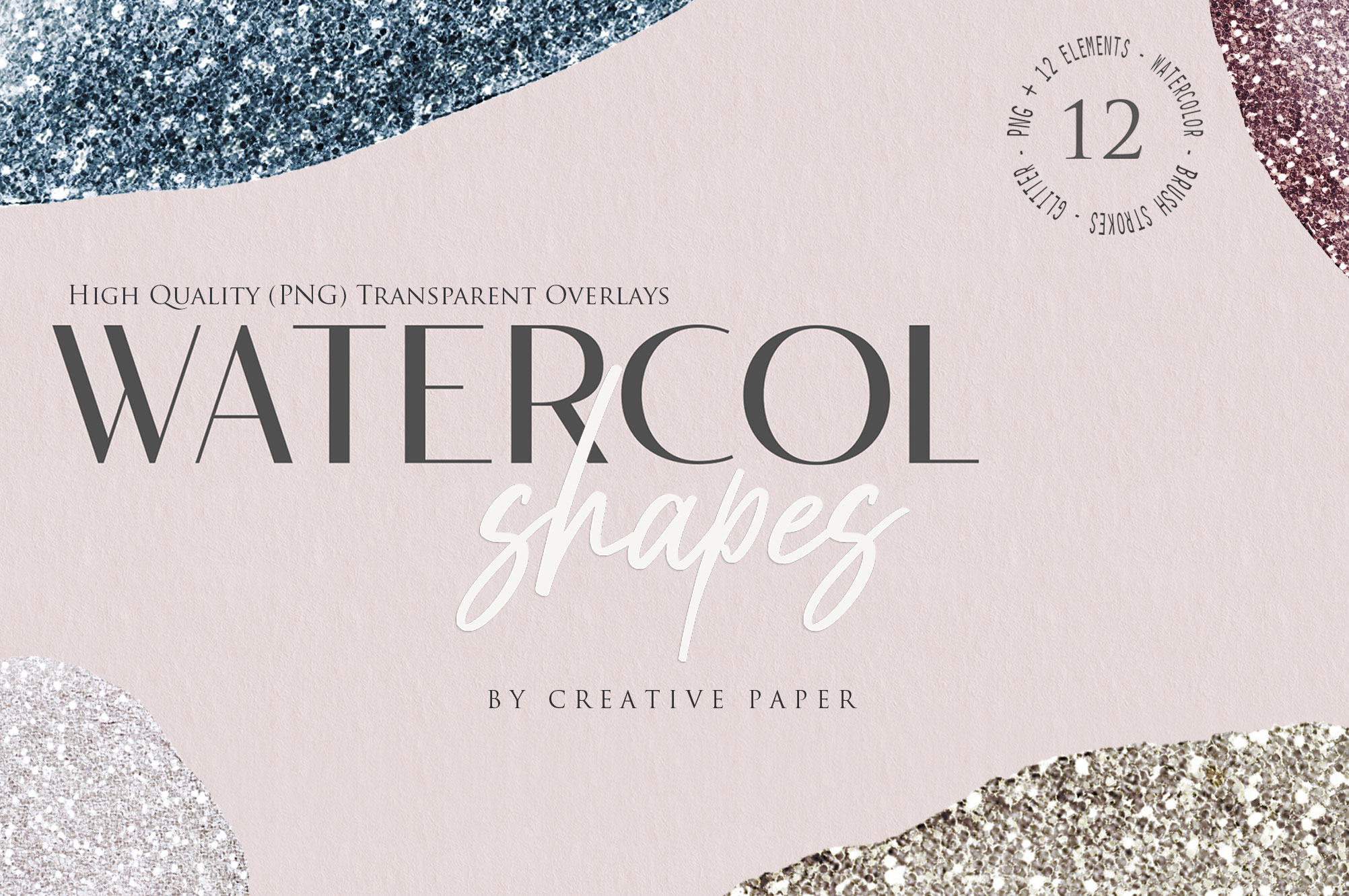 Ink & Watercolor Glitter Overlays - 12 Png Elements example image 1