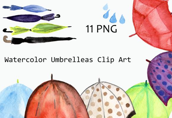 Watercolor Umbrellas Clip Art example image 1