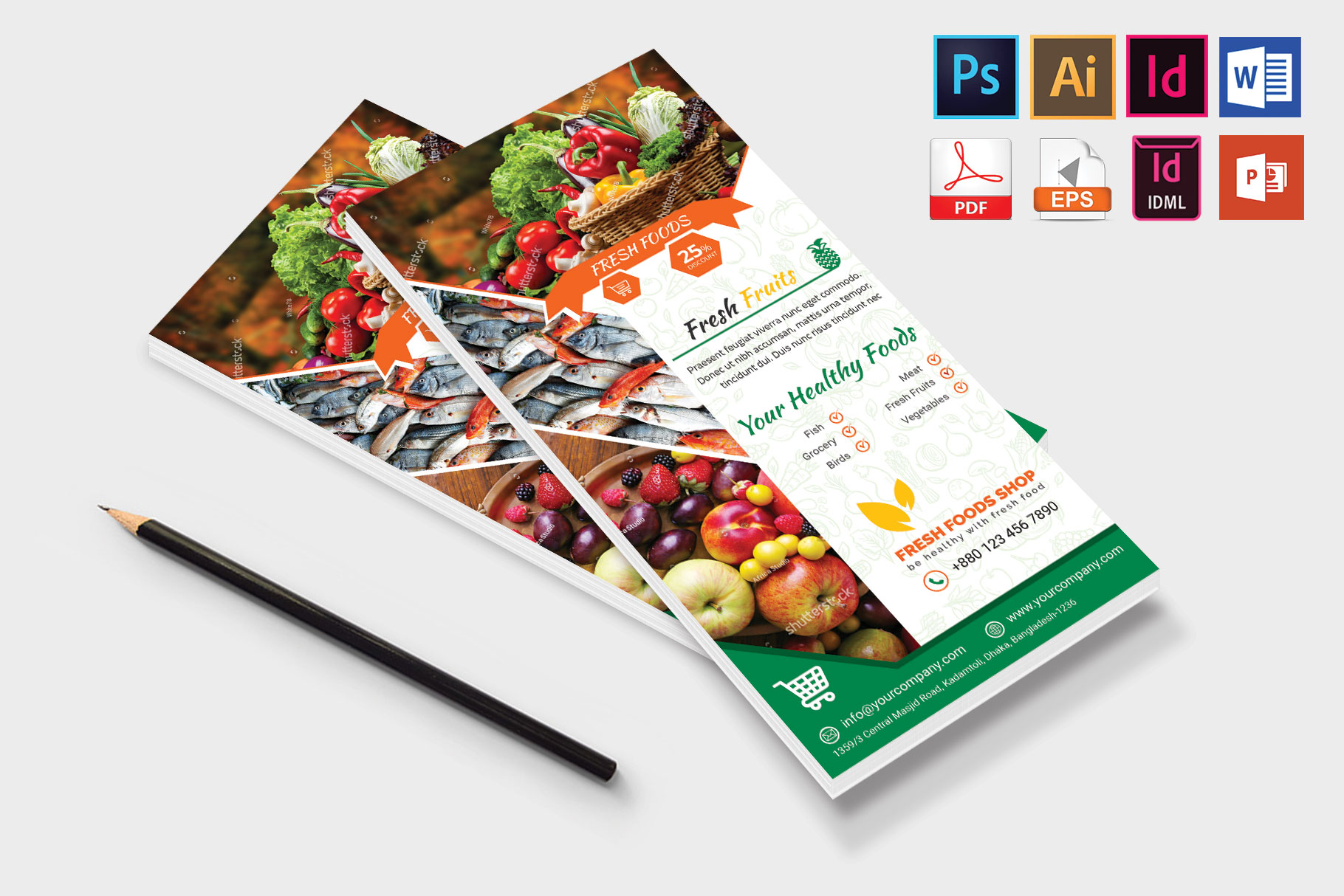 Rack Card | Fresh Food DL Flyer Vol-03 example image 4