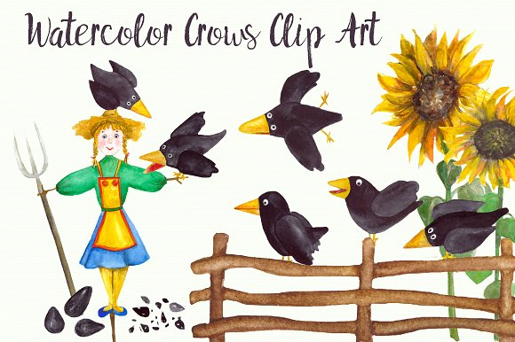 15 Watercolor Crows Clip Art Set example image 2