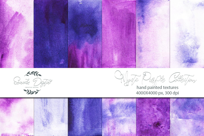 Mystic Purple Watercolor Textures example image 2