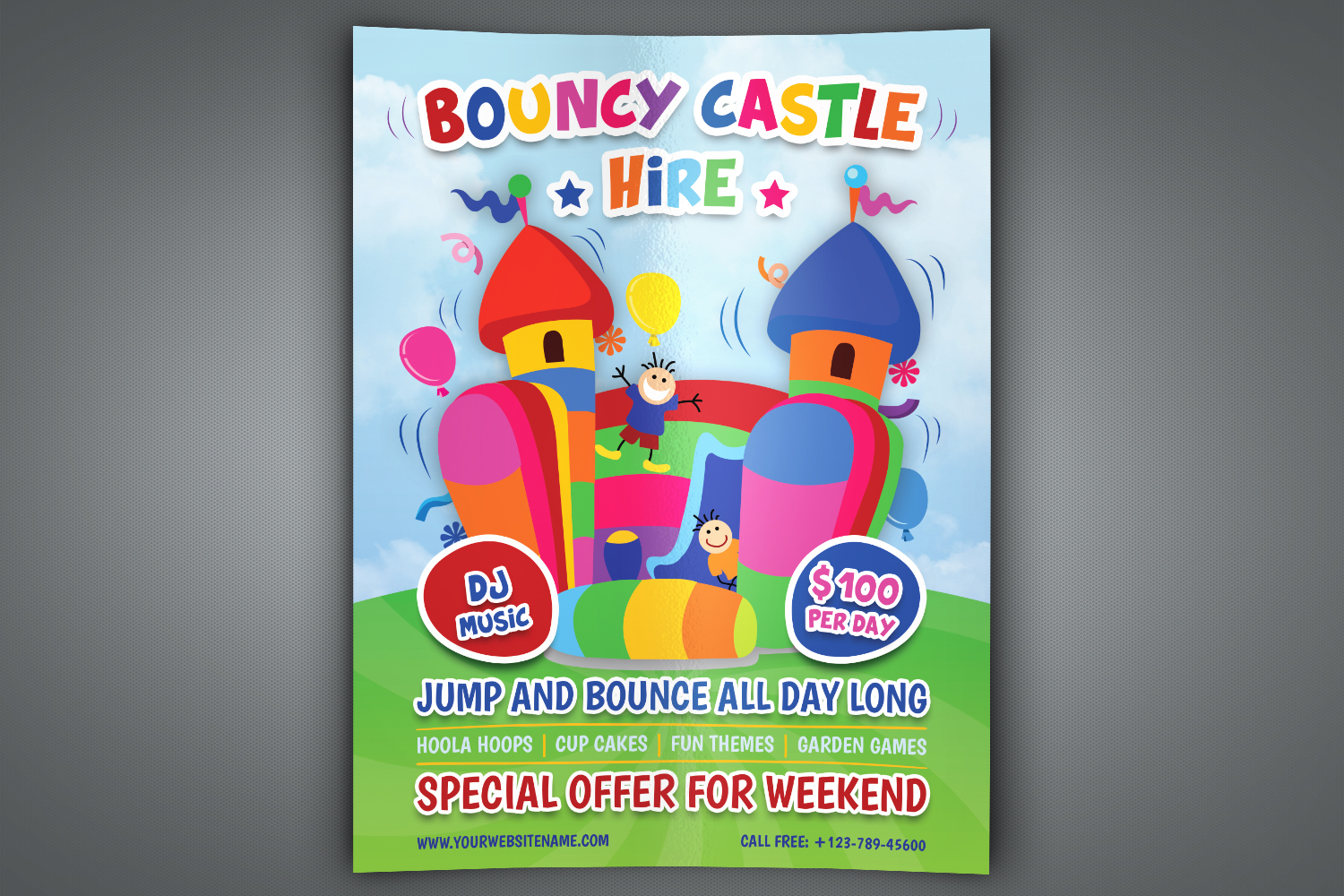 Bouncy Castle Hire Flyer Template example image 1