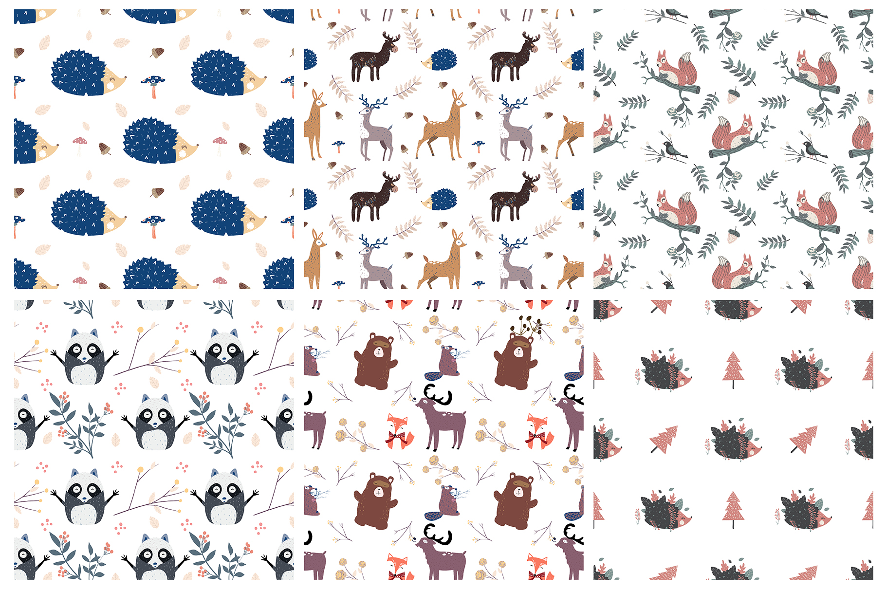 Forest animals seamless patterns example image 1