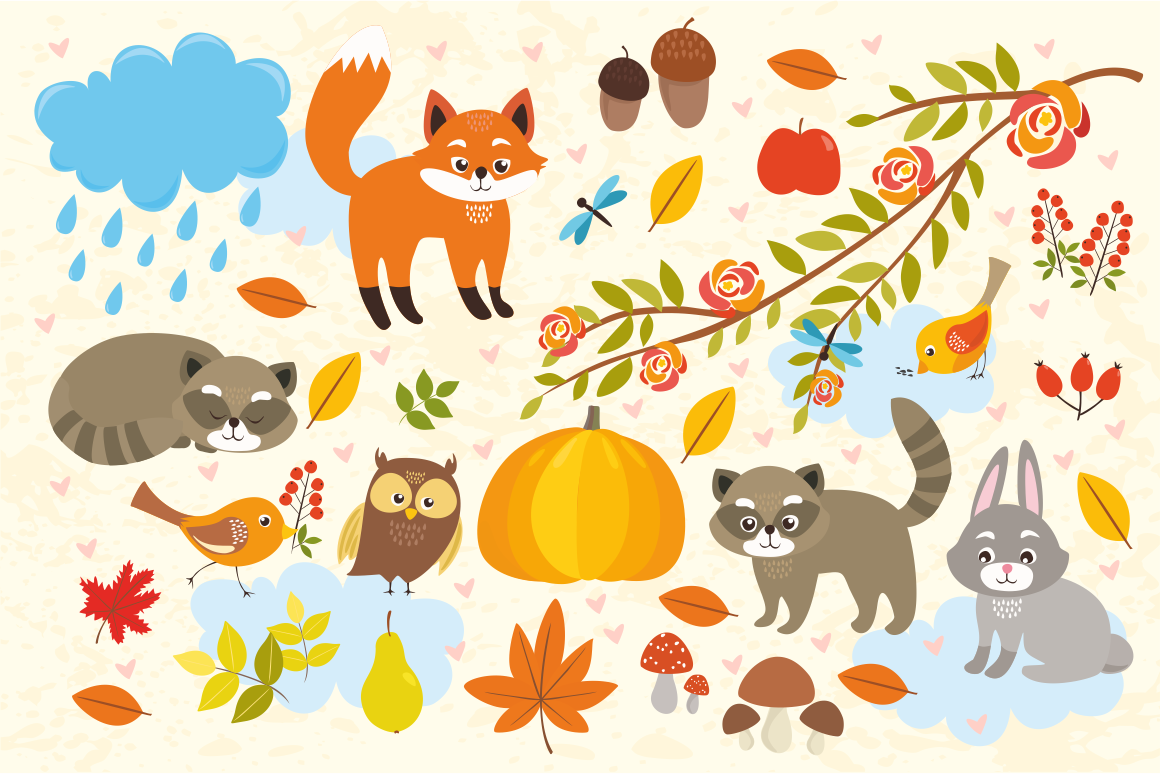 Cute Set Forest Animals and Patterns example image 3