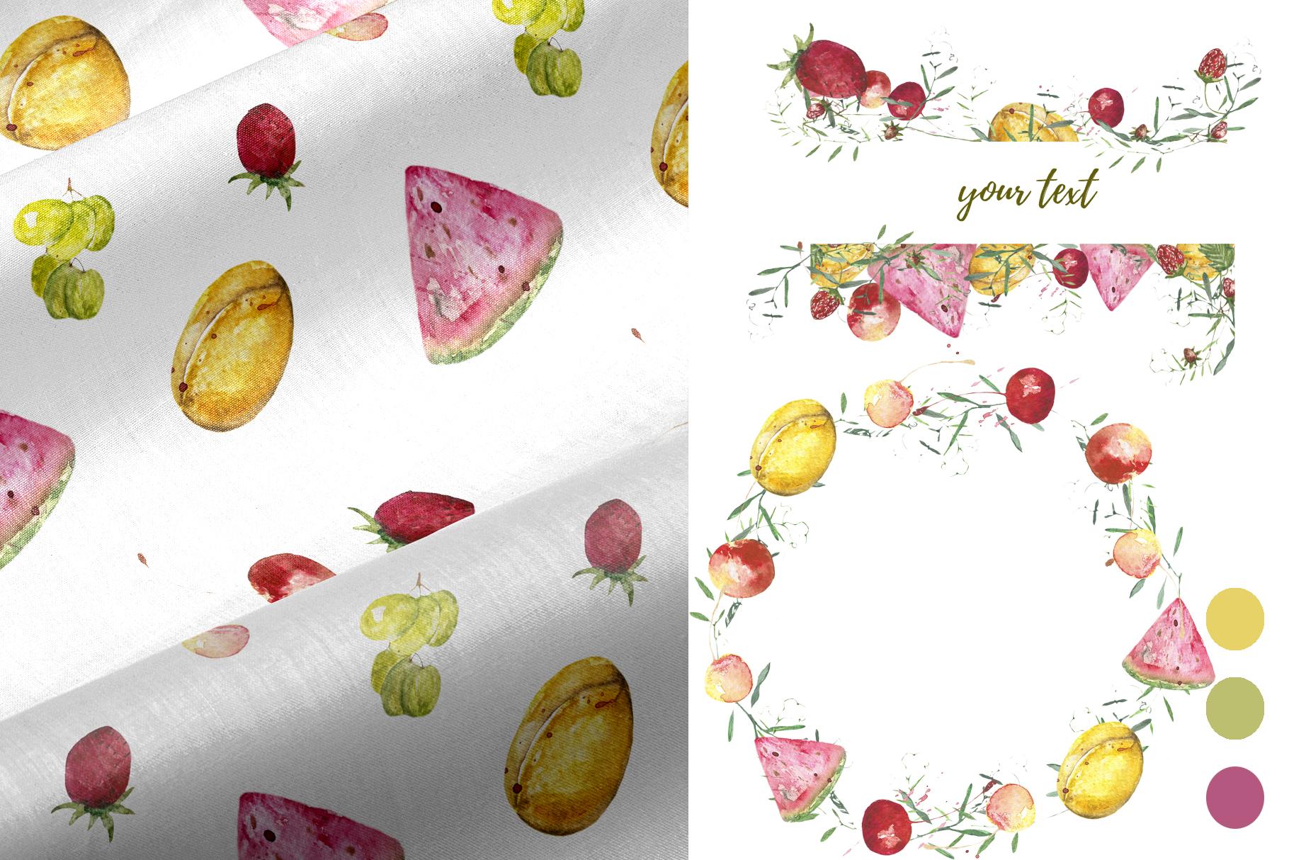 Fruit vegetables food watercolor example image 5