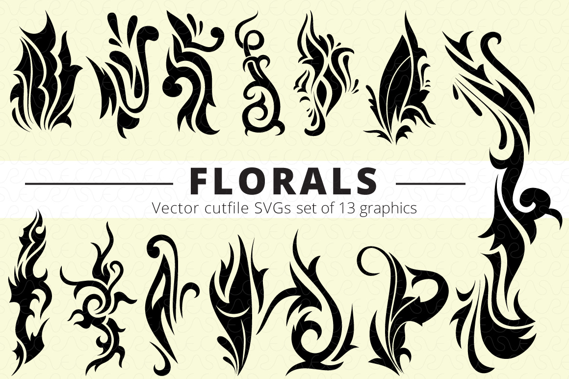 SVG Florals Cutfiles Bundle Pack of 270 vector graphic shape example image 11