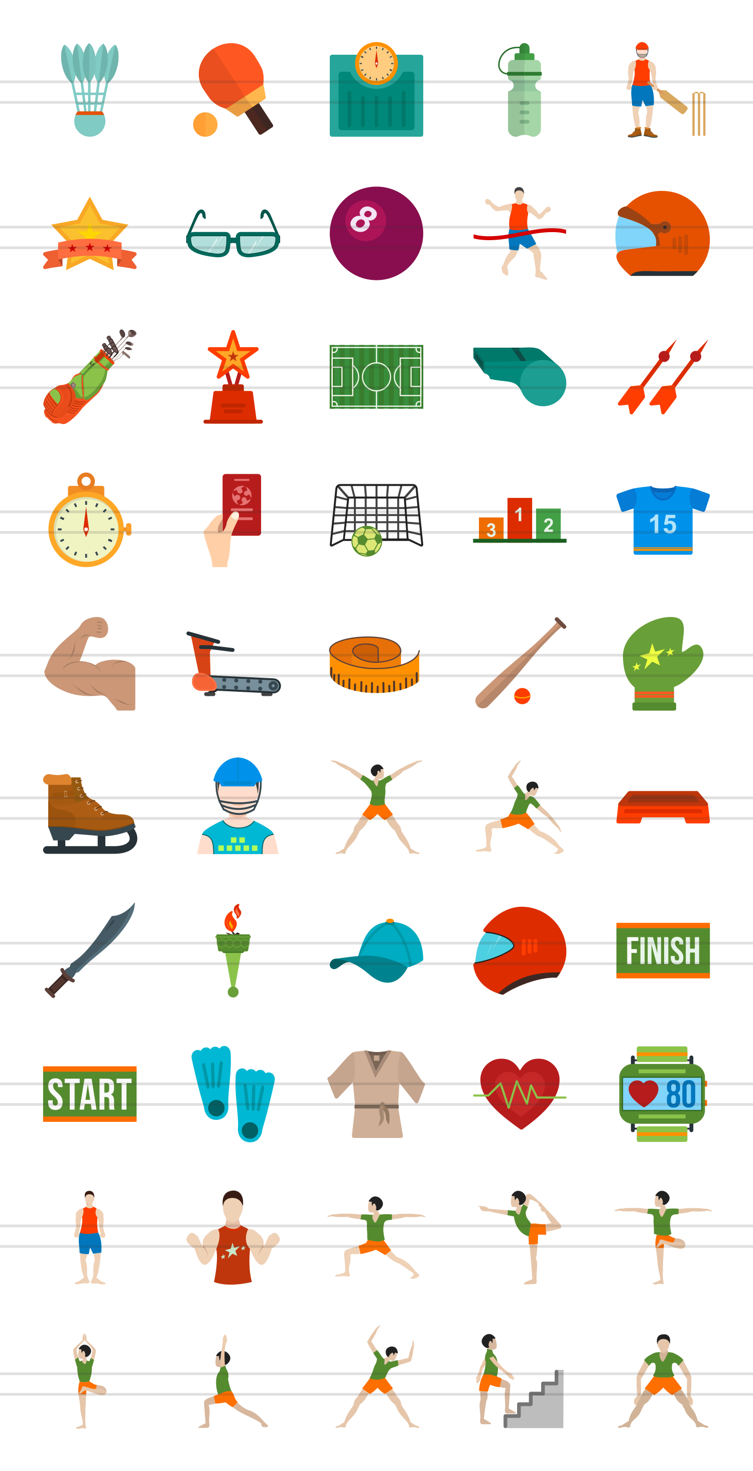 50 Fitness & Sports Flat Multicolor Icons example image 2