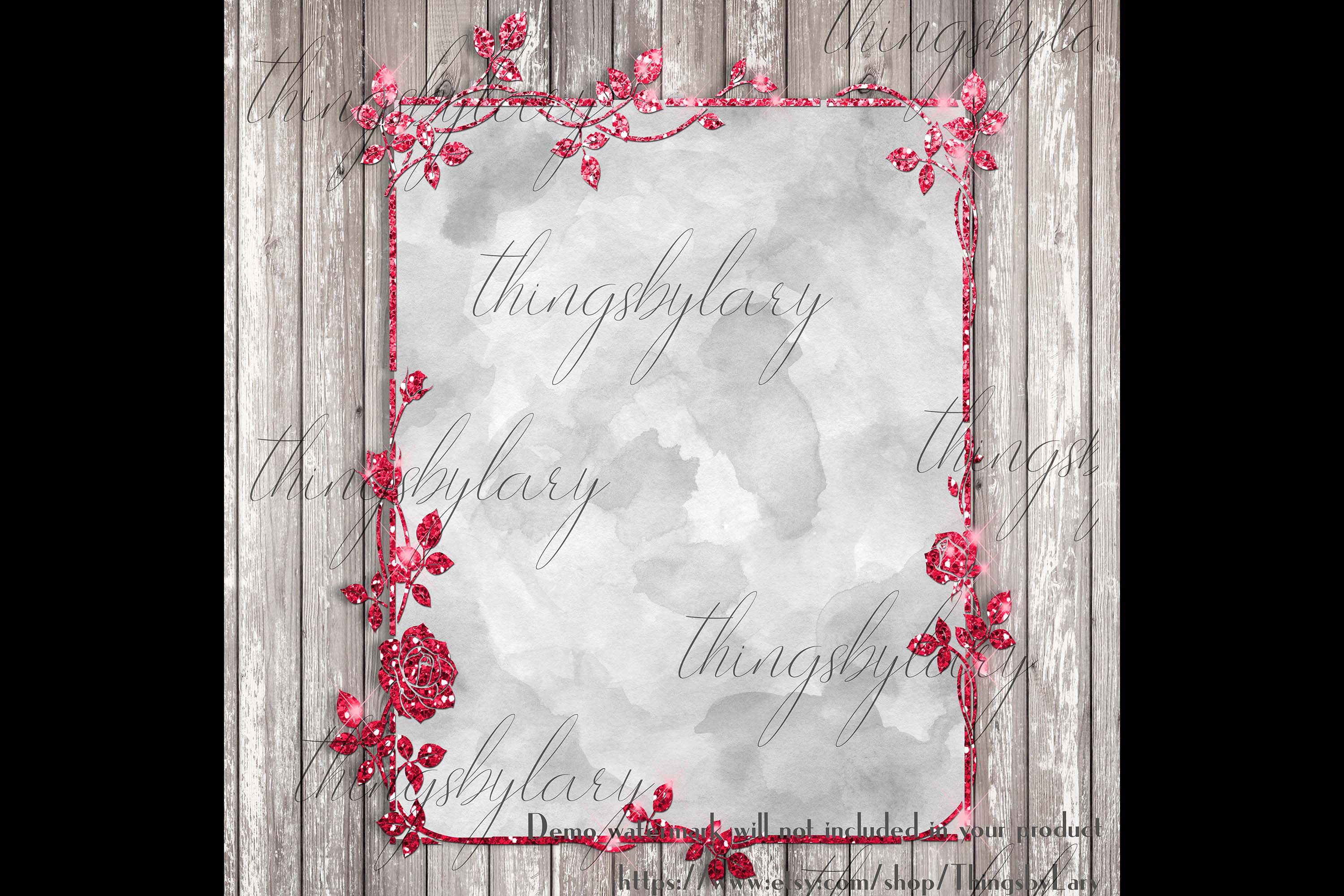18 Glitter and Watercolor Leaf Branch Floral Frame Card example image 4
