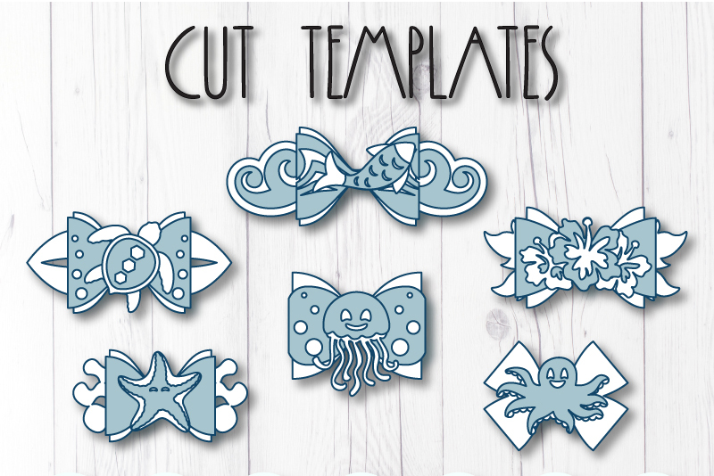 6 Hair bow template SVG, Hawaii sea lather bow template example image 9