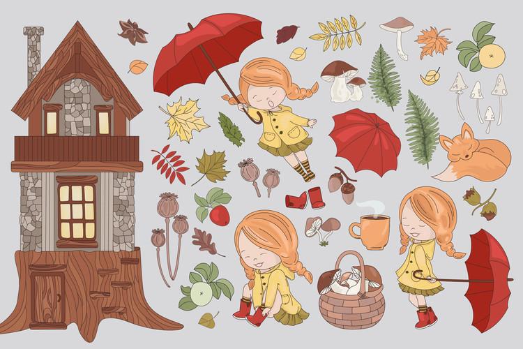 FALL ADVENTURES Autumn Season Cartoon Vector Illustration example image 10