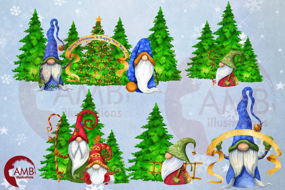 Christmas Gnomes, Scandinavian Gnomes, Watercolour Gnomes, example image 9