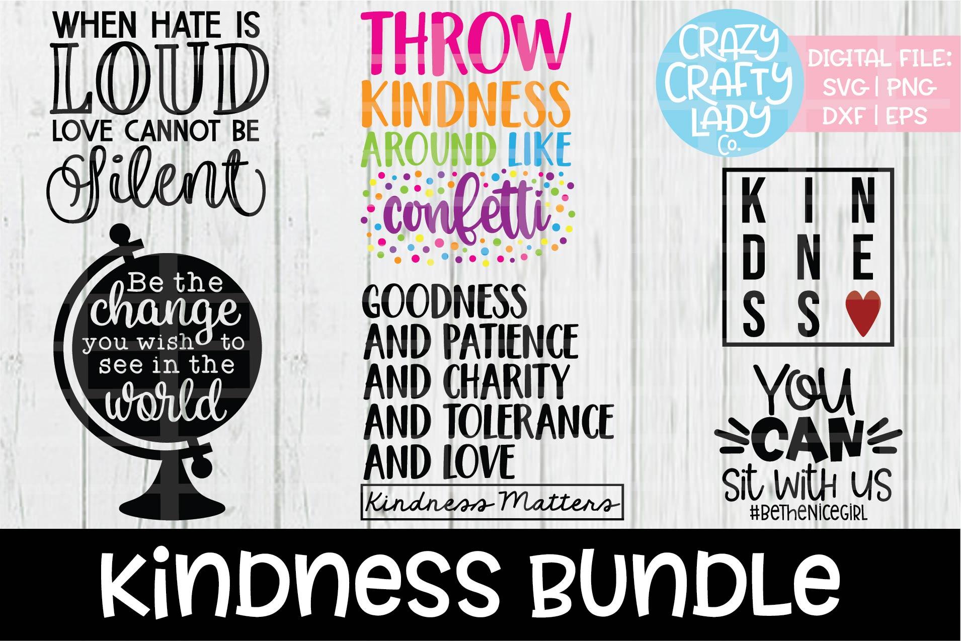 Kindness Bundle SVG DXF EPS PNG Cut Files example image 1