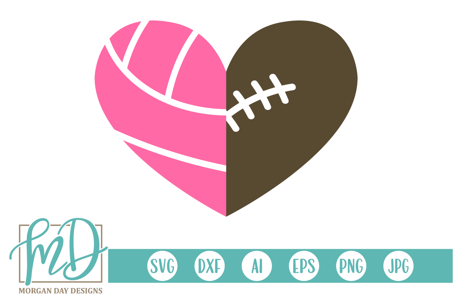 Volleyball Football Heart SVG, DXF, AI, EPS, PNG, JPEG example image 1