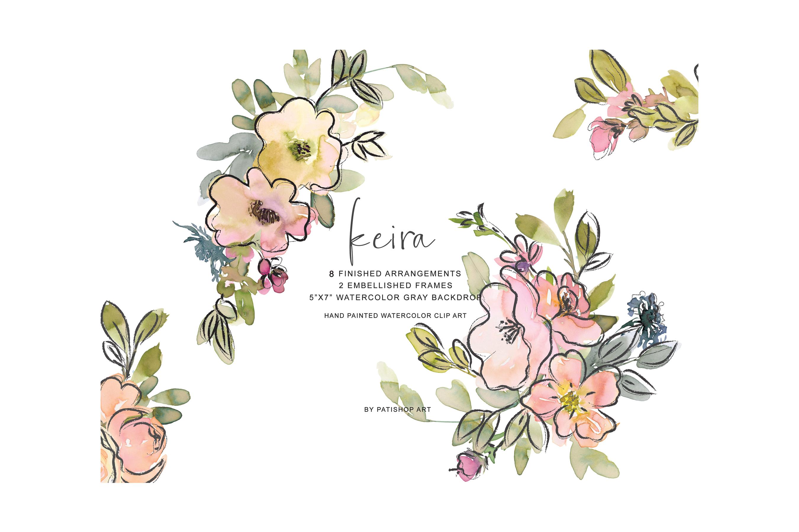 Watercolor Blush and Lemon Colors Floral Arrangements example image 8