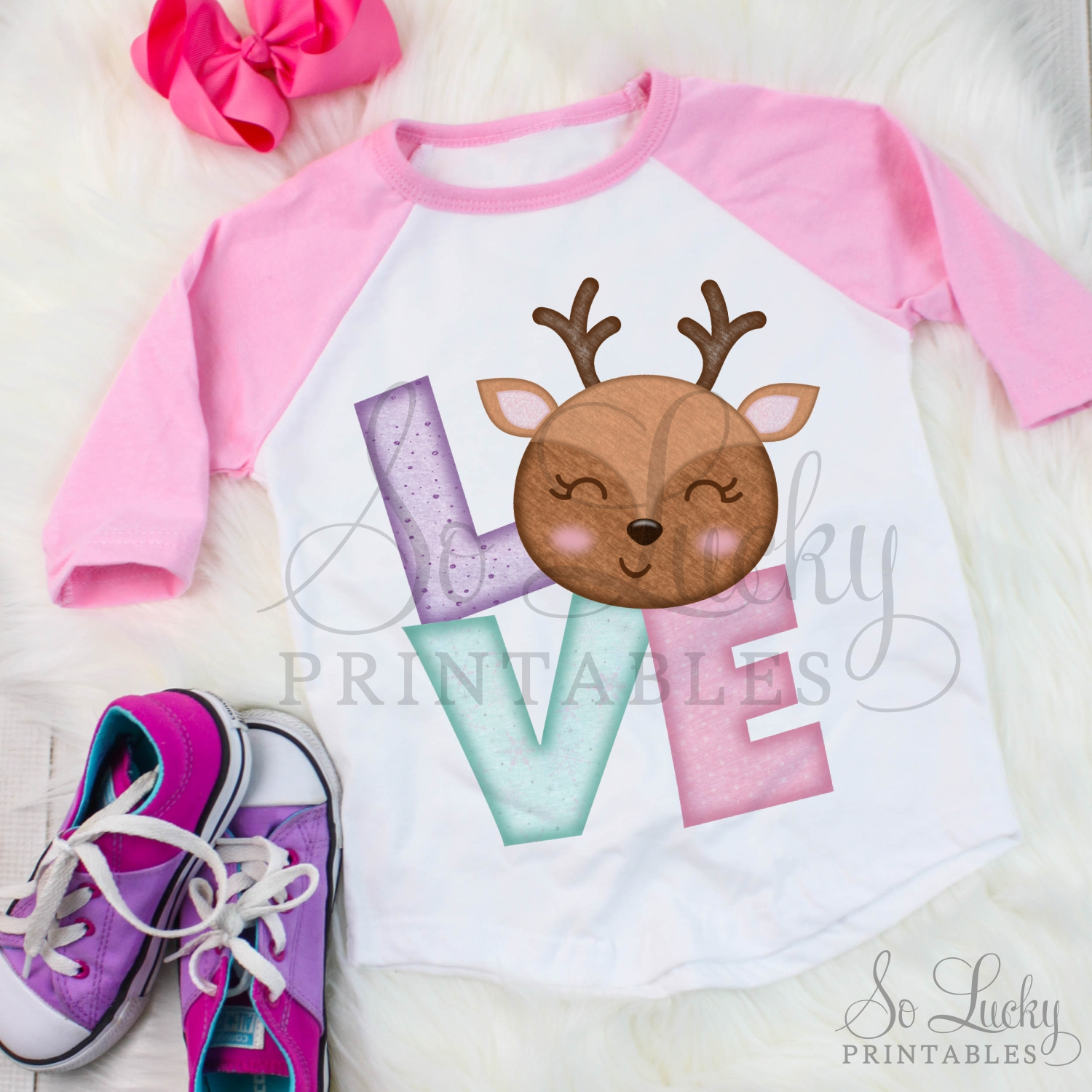 Christmas Love Reindeer printable sublimation design example image 2