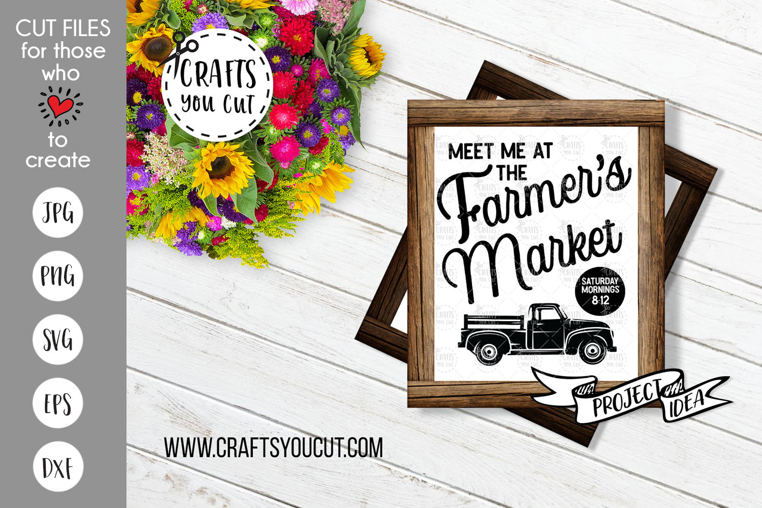 Meet Me At The Farmer's Market- Farmhouse Style SVG Cut File example image 1