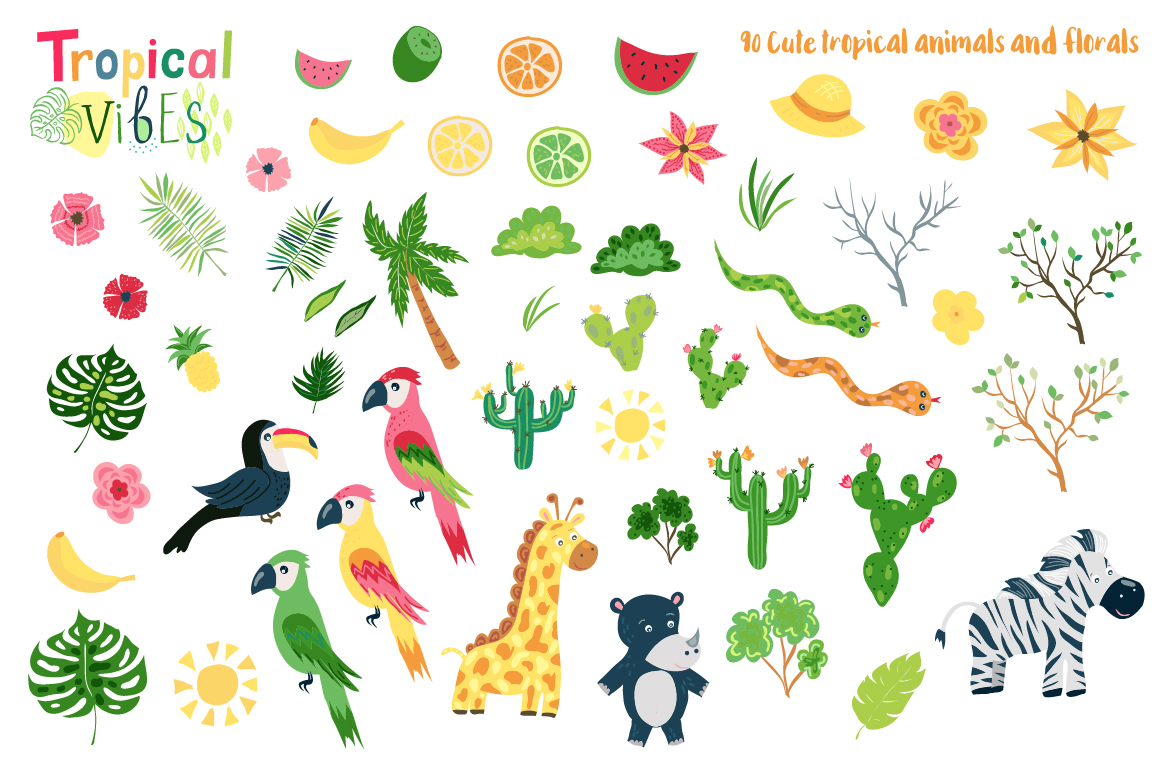 Summer Tropical Cute Vector Pack example image 2