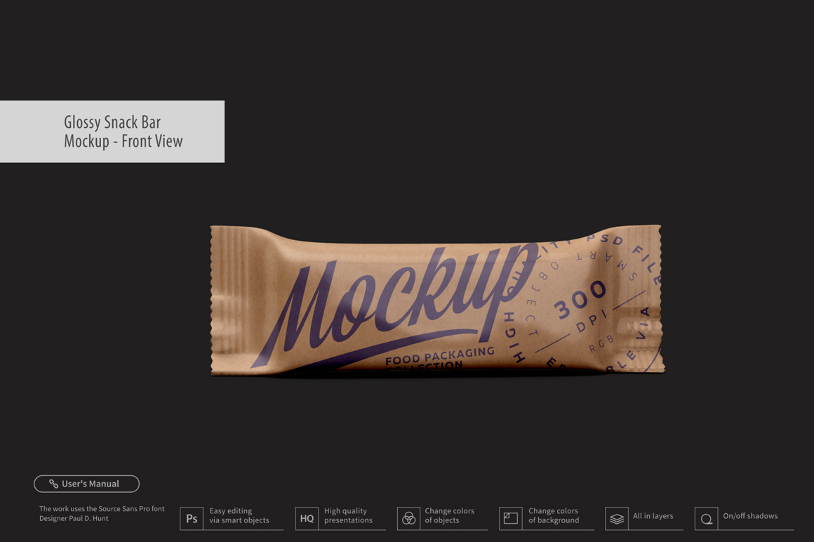 Kraft Snack Bar Mockup - Front View example image 1