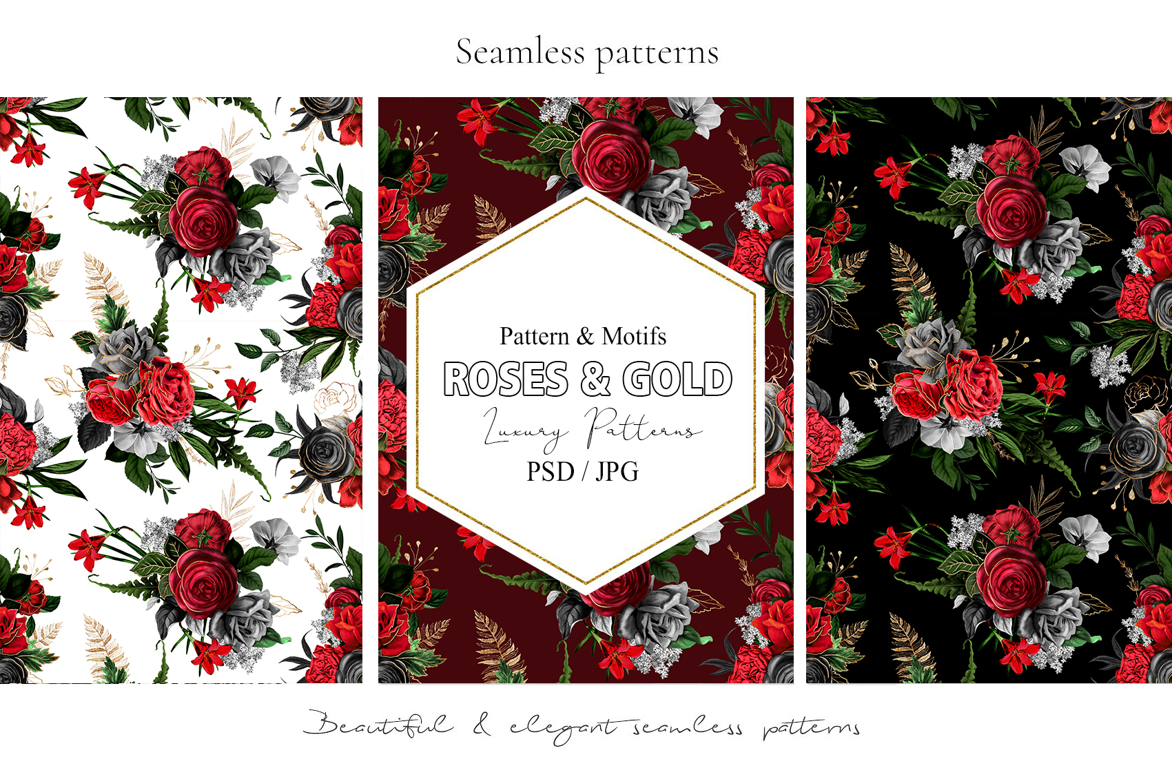 Red Flowers and Gold| Roses vintage and gold example image 11