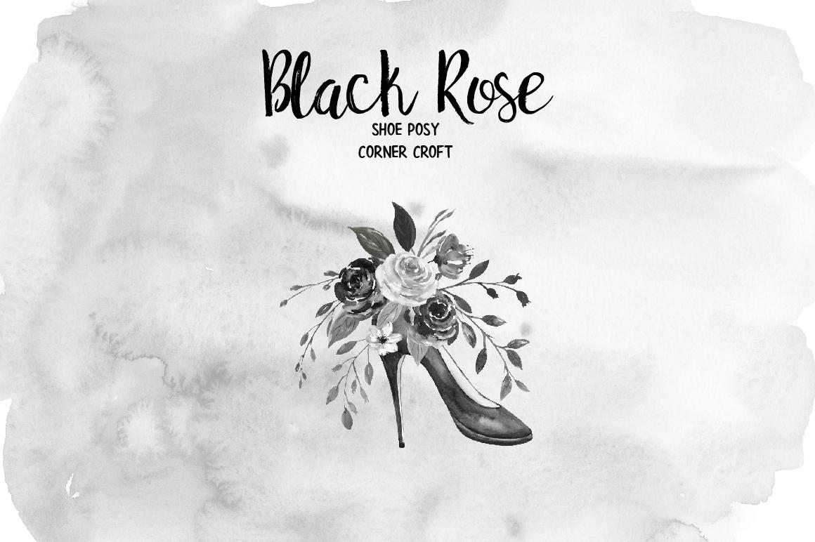 Watercolor Black Rose Clip Art example image 3