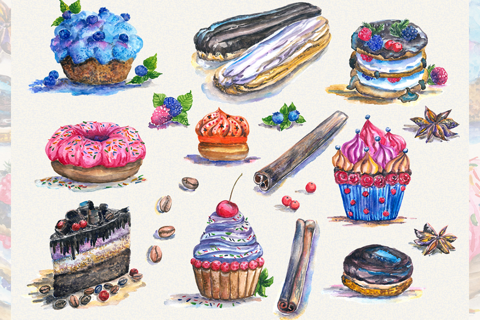 Cake Clipart, cupcake clipart, donut clipart, Handpainted example image 3
