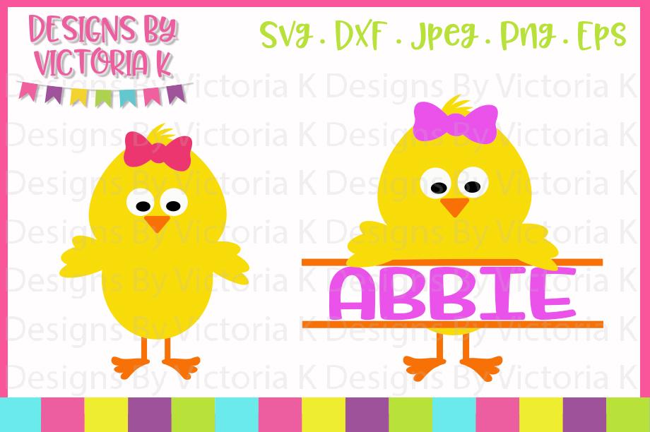 Easter Chick, Chick Split Monogram, SVG, DXF, PNG example image 1